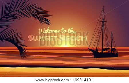 welcome to the sunset beach text with boat and coconut leaf on evening beach abstract background vector design