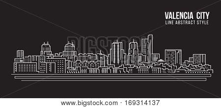 Cityscape Building Line art Vector Illustration design - Valencia city
