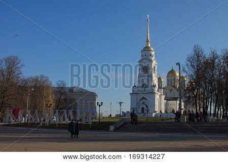 Cathedral with bell tower on the square in Vladimir-city, Russia.
