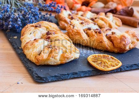 marple and pecan plait pastry sweet food breakfast with lavender flowers