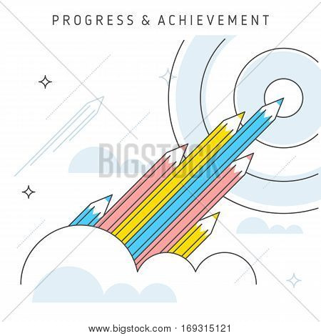 Vector flat line illustration represent progress concept achievement concept teamwork to achieve goal. Idea of growth concept increase business leadership moving upwards and development concept.
