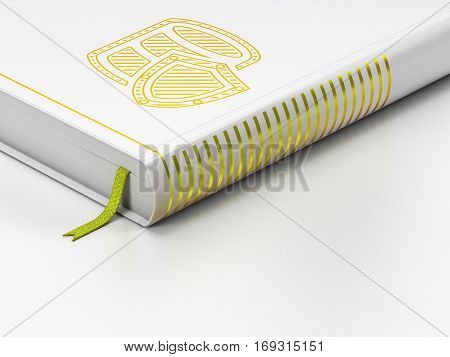 Database concept: closed book with Gold Database With Shield icon on floor, white background, 3D rendering