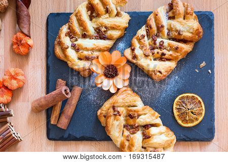 marple and pecan plait pastry sweet food breakfast with cinnamon and flower