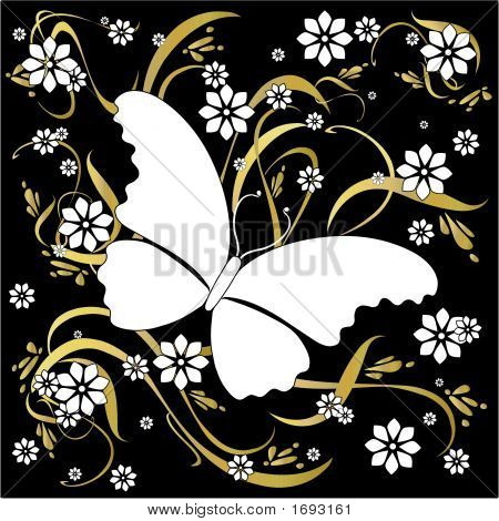 Butterfly Floral Background Ornamental Art 19
