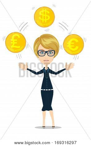 Cartoon businesswoman juggling with gold coins with different currency symbols. Vector illustration on business dealing with foreign exchange concept