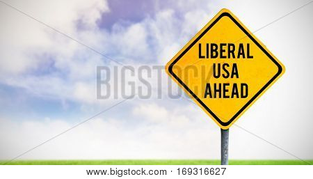 liberal usa ahead against blue sky over green field