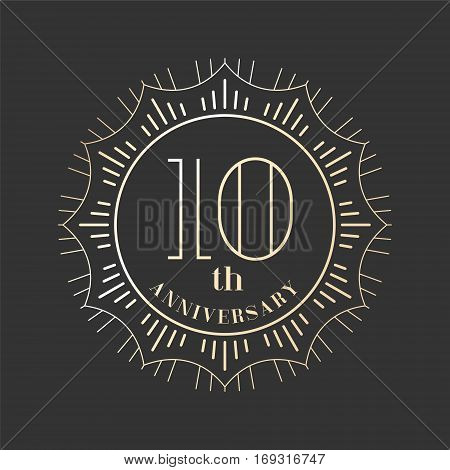 10 years anniversary vector icon logo. Graphic design element for 10th anniversary birthday card