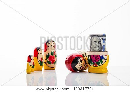 Matryoshka and bill hundred dollars, as an illustration of corruption in Russia