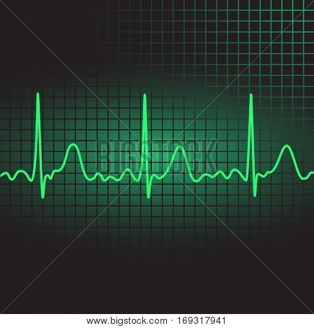 Electrocardiogram in green, heartbeat, vector illustration, eps10