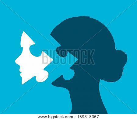 Young woman head with puzzle piece in place of a face against a blue background vector illustration