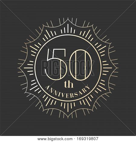 50 years anniversary vector icon logo. Graphic design element for 50th anniversary birthday card