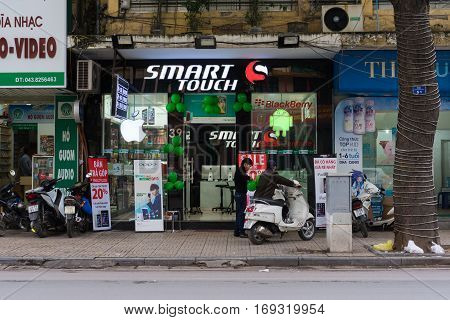 Hanoi, Vietnam - Nov 16, 2014: Front view of electronic store in Hang Bai street. Vietnam become potential high technology product market, seeing many stores risen nowadays