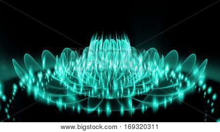 Abstract Exotic Flower With Glowing Sparkles On Black Background. Fantasy Fractal Design In Blue Col