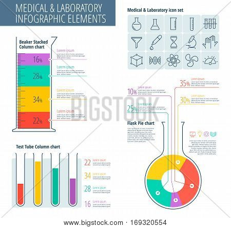Infographic vector design template and chemical lab icon set. Vector flat laboratory and medical infographic. Science lab and scientific research equipment infographic elements: charts science icons