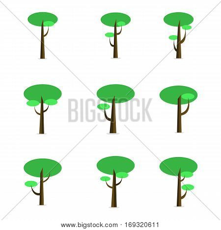 Green tree set of vector flat collection stock