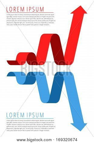 Increasing graph and decreasing graph concept. Red progress arrow and blue recession arrow isolated on white background represent increase profit and recession business.