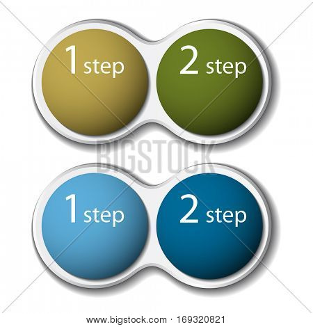 two steps business infographic vector