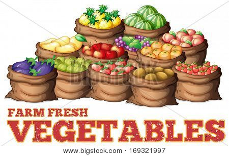 Different types of fresh vegetables illustration