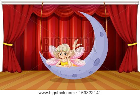 Stage scene with fairy on the moon illustration
