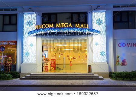 Hanoi, Vietnam - Nov 25, 2014: Entrance of Vincom Mega Mall decorated with light, far early before Christmas day