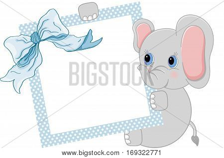 Scalable vectorial image representing a baby elephant holding blue frame and ribbon, isolated on white.