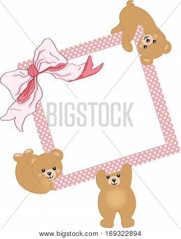 Scalable vectorial image representing a baby teddy bears holding pink frame and ribbon, isolated on white.