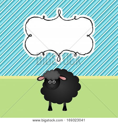 Scalable vectorial image representing a greeting card with black sheep background.