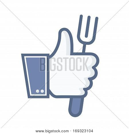 vector thumb up with fork icon on white background. food concept