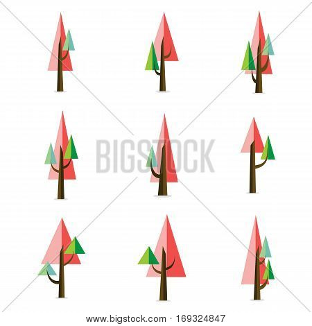 Vector illustration of tree style unique collection stock