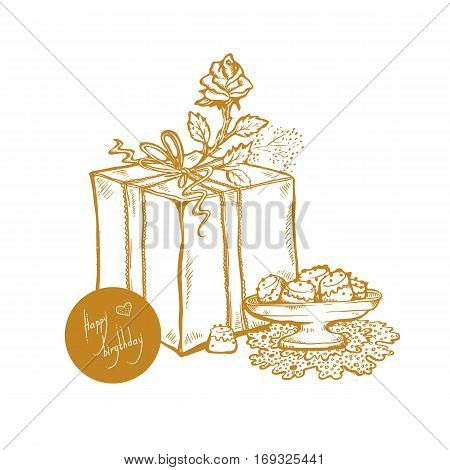 Happy Birthday. Vector golden sketch illustration of gift box rosebud vase with cakes