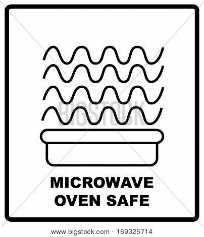 Microwave oven safe symbol, isolated vector illustration. Symbol for use in package layout design. For use on cardboard boxes, packages and parcels.