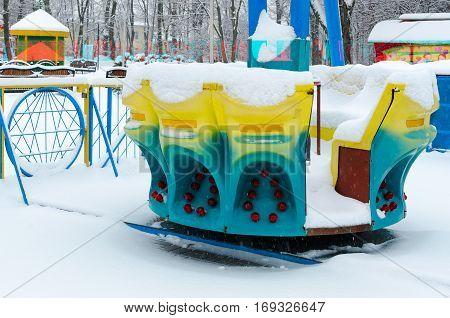GOMEL BELARUS - JANUARY 12 2017: Snowy attraction