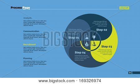 Four circle zones process chart slide template. Business data. Graph, diagram, design. Creative concept for infographic. Can be used for topics like management, strategy, planning.