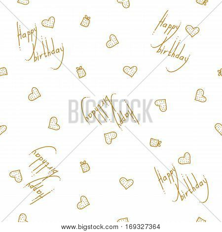 vector seamless pattern with birthday greetings and hearts. Gold lettering on the white background for gift wrapping