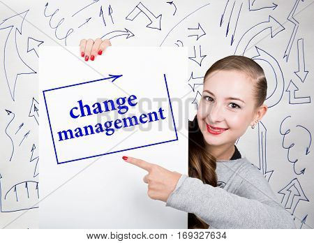 Young woman holding whiteboard with writing word: change management. Technology, internet, business and marketing