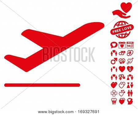 Airplane Departure pictograph with bonus dating graphic icons. Vector illustration style is flat iconic red symbols on white background.