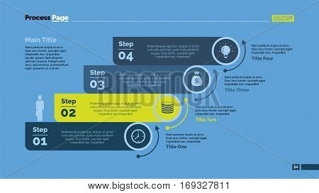 Four steps process chart slide template. Business data. Point, diagram, design. Concept for infographic, presentation, marketing. Can be used for topics like management, finance, teamwork.