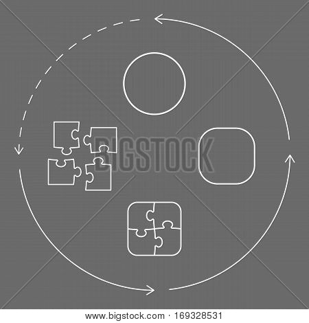Vector illustration with puzzle pieces shapes and arrows symbolizing problem-solving cycle from pieces to wholeness unity. White figures over grey background. Vector illustration