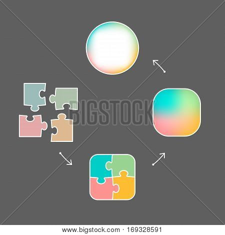 Graphic of colored figures symbolizing cycle of problem solving from gathering pieces to wholeness unity with arrows on grey background vector illustration