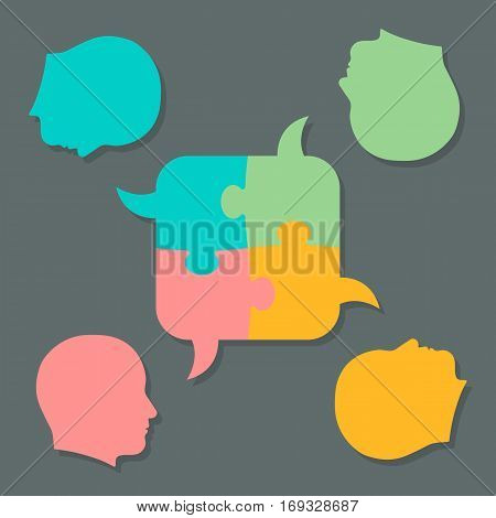 Set of flat jigsaw puzzle piece bubbles with head figures symbolizing collaborative speech or teamwork concept vector illustration