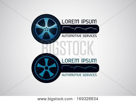 Automotive car services with wheel element - vector logo
