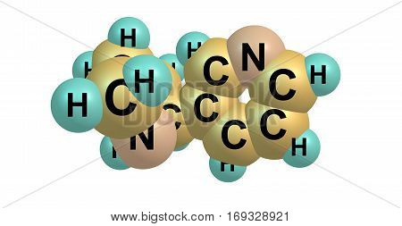 Nornicotine is an alkaloid found in various plants including Nicotiana the tobacco plant. It is chemically similar to nicotine but does not contain a methyl group. 3d illustration