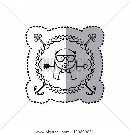 stamp sticker silhouette bear animal with accesories vector illustration