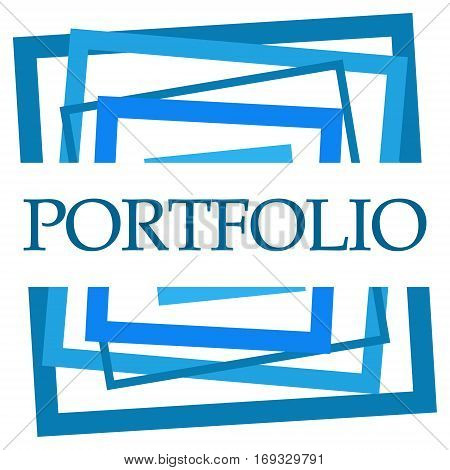 Portfolio text written over abstract blue background.