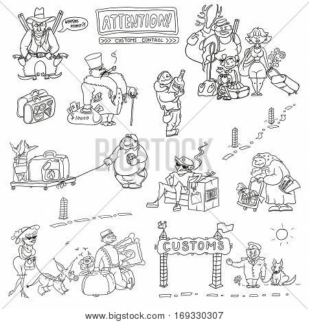 humorous caricature characters with money weapons food alcohol tobacco antiques tested at customs control