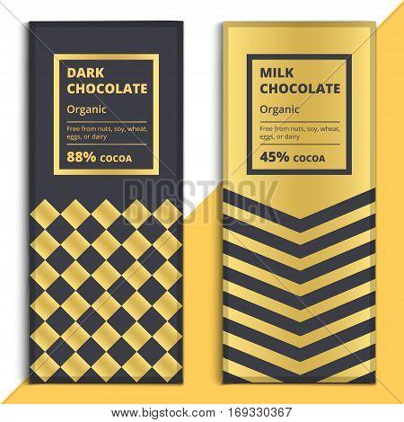 Organic Dark And Milk Chocolate Bar Design. Choco Packaging Vector Mockup. Trendy Luxury Product Bra