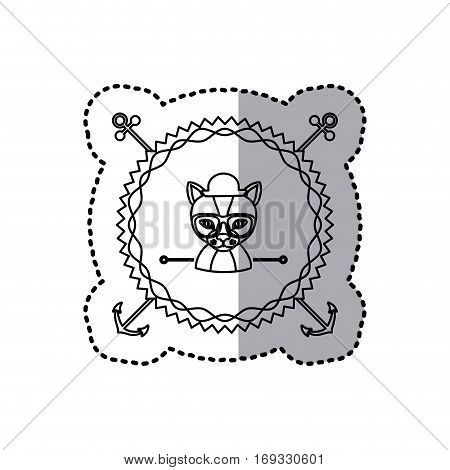 stamp sticker silhouette cat animal with accesories . Vector illustration