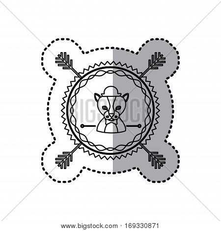 stamp sticker silhouette kitty animal with accesories vector illustration
