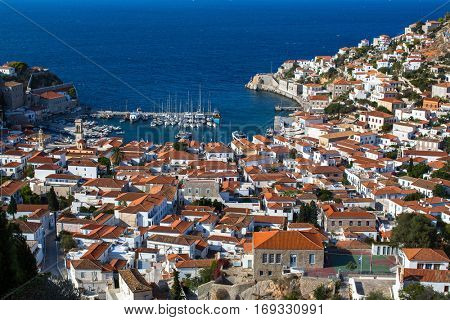 Marina of the Hydra island, Aegean sea, Greece.