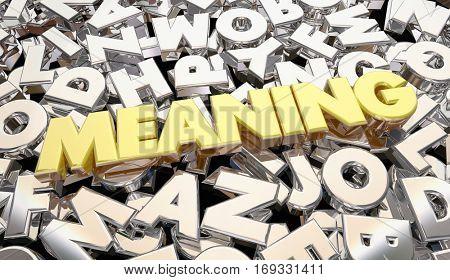 Meaning Secret Scrambled Message Letters Word 3d Illustration